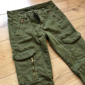 Zara Woman Skinny Jeans Military Green